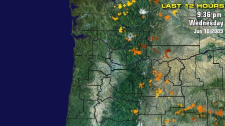 All Lightning Strikes Remained in the Cascades Again Today