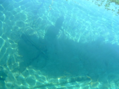 Not the best picture, but you get the idea.  Waldo Lake's water is incredibly clear...this is my shadow (in the inflatable kayak) down into about 15' of water!