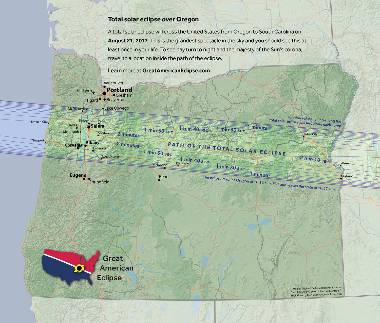 The Great USA Eclipse Is Just  Year Away FOX  Weather Blog - Portland oregon on the usa map