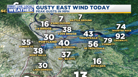 Wind Metro Peak Gusts East Wind