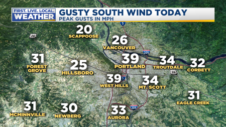 Wind Metro Peak Gusts Today