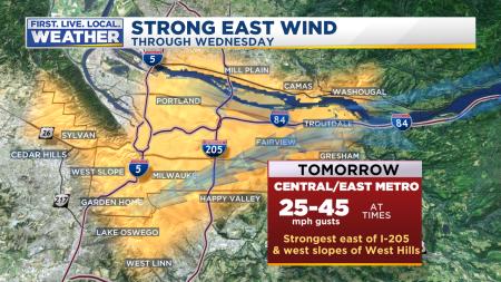warnings gorge and metro east wind
