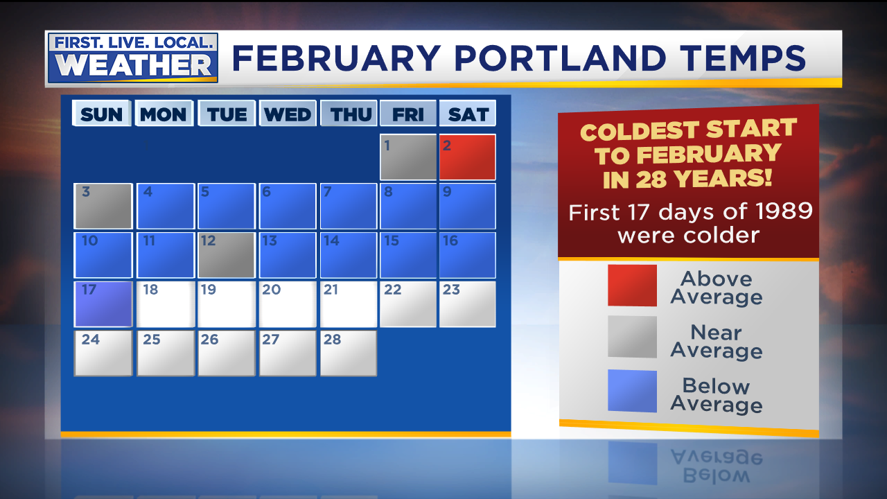 February 2019 Weather Calendar Coldest Start To February Since 1989; More Chilly Temps Ahead