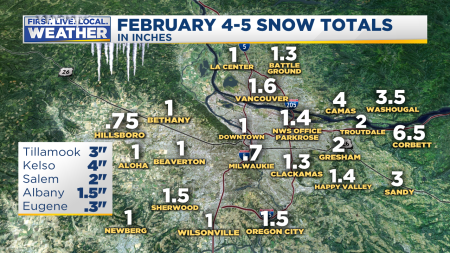 Snow Totals Metro Area