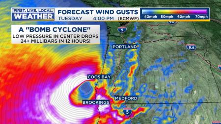 Wind Forecast ECMWF HourlyStrong